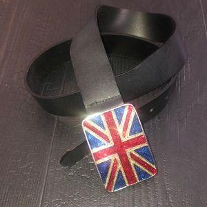 Aldo Union Jack Buckle Black Leather Belt Medium